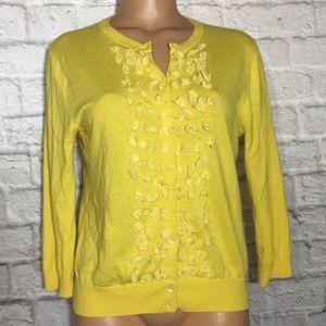 J Crew Yellow Cashmere Blend Cardigan Sweater